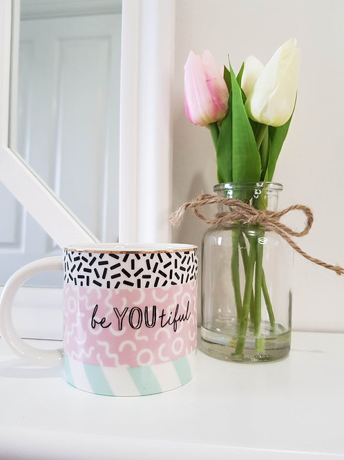 Pastel Pink 'Beautiful' Memphis Mug
