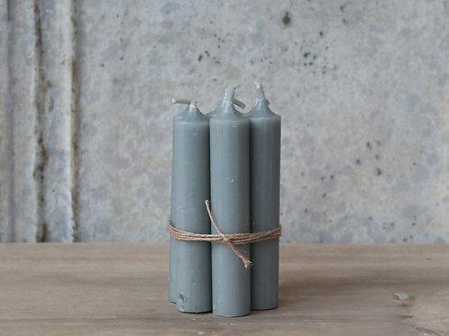 Vintage Grey Dinner Candles Set Of 6