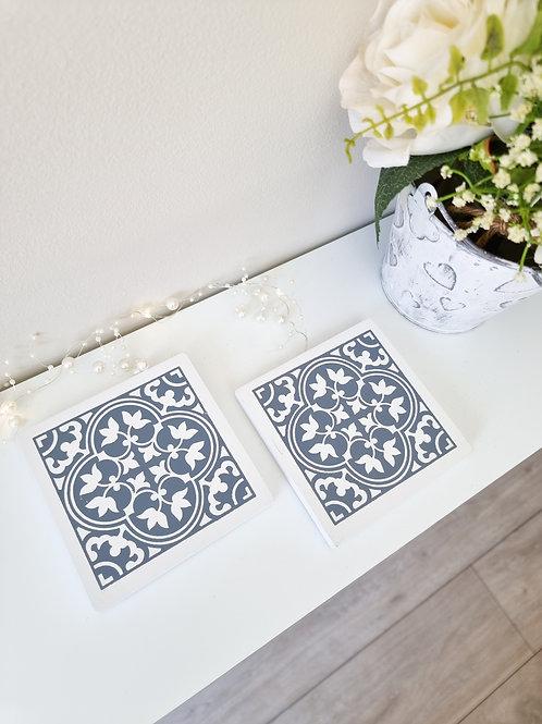 White & Grey Persian Tile Wooden Coasters