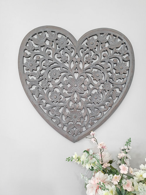 Grey Filigree Mango Wood Heart