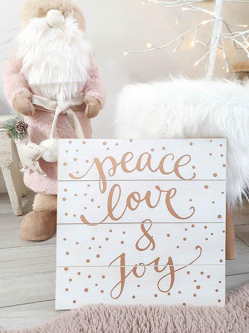Rose Gold Peace Love & Joy Plaque