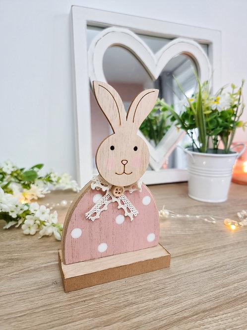 Ditsy Pink Polka Dot Bunny Figure