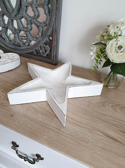 Chunky Handcarved White Star Tray