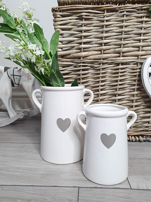 White & Grey Heart Vase With Handles