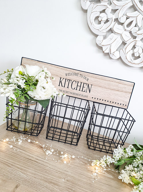 Welcome To Our Kitchen Storage Baskets