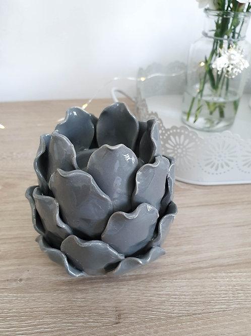 Dark Grey Artichoke Candle Holder **IMPERFECT**