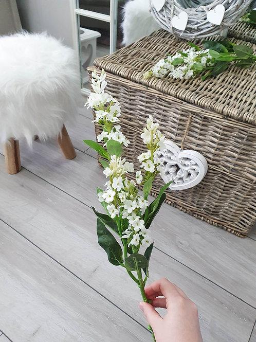 Faux White Lavender Single Stem