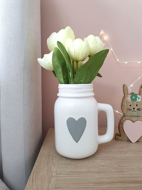 White Jar With Grey Heart **IMPERFECT**