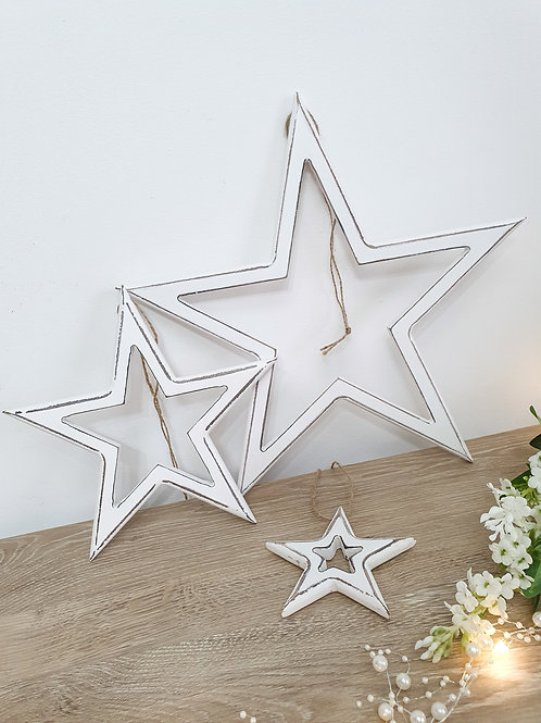 Cut Out White Hanging Stars