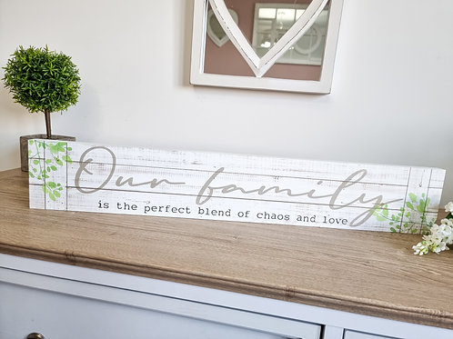 Our Family Long Distressed Plaque