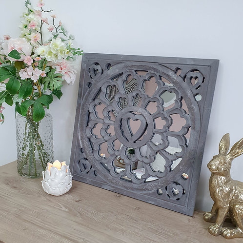 Grey Distressed Heart Wall Mirror