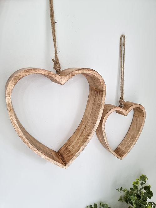 Deep Natural Wooden Hanging Hearts
