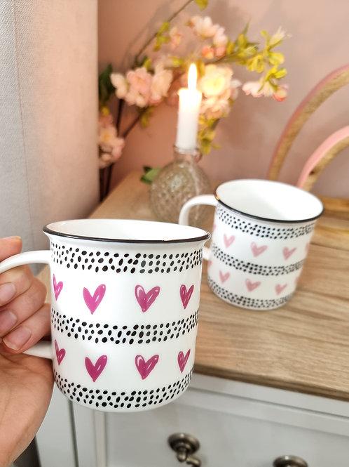 Pink Scribble Heart Mug