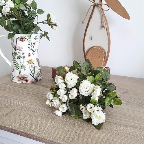 Miniature White Rose Bush Bunch
