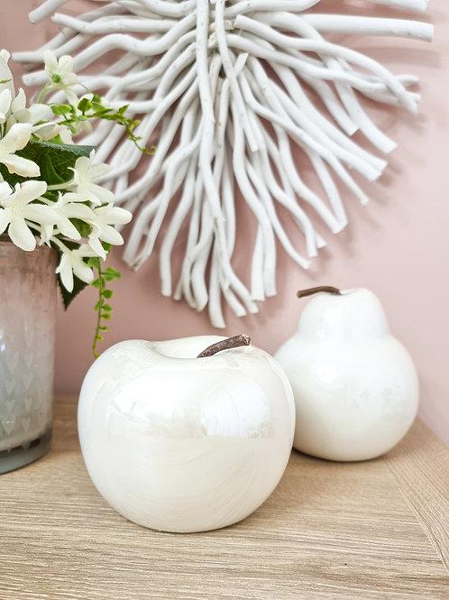 Cream Pearl Glazed Apple & Pear Decoration