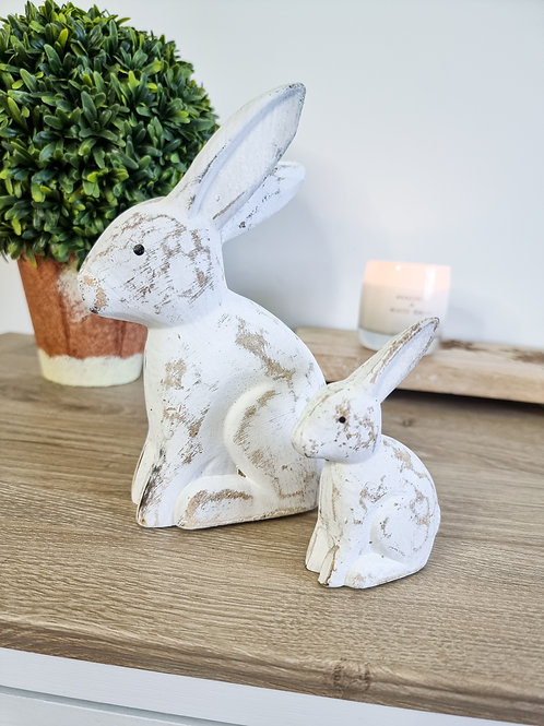 Rustic White Wooden Bunnies