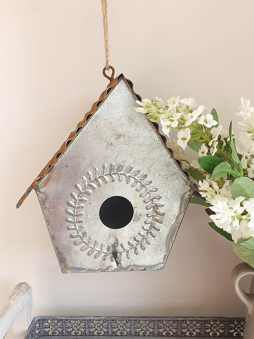 Rustic Iron Hanging Birdhouse Decoration