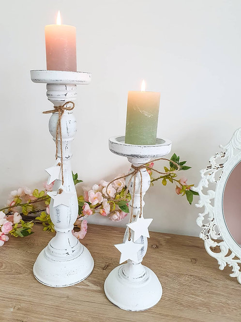 Distressed White Candlestick With Stars