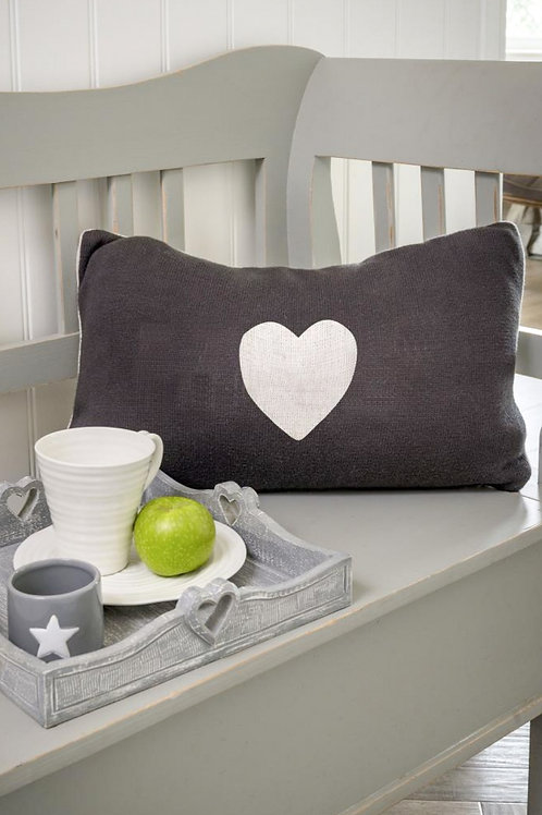 Cream & Grey Heart Cushion