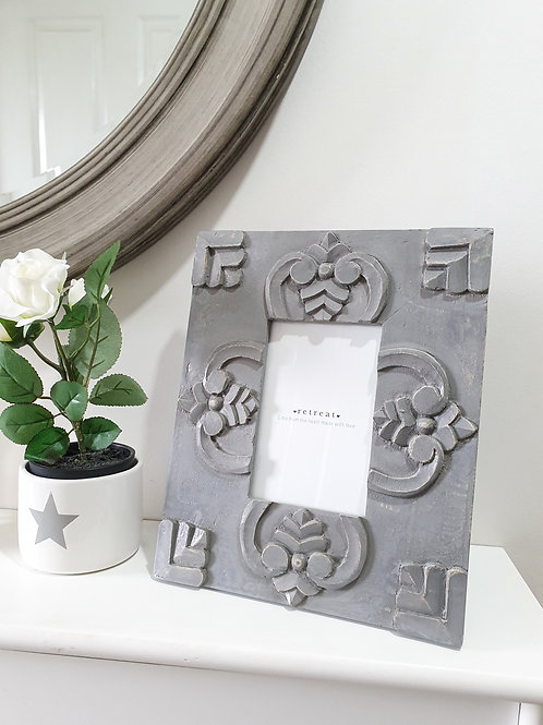 Chunky Carved Grey Wooden Frame