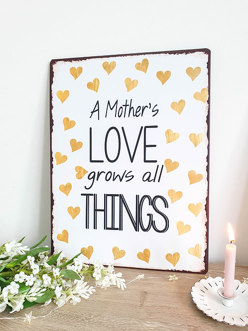 Mothers Love Mustard Heart Plaque