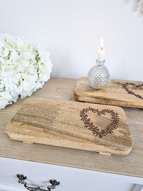 Natural Mango Wood Heart Board