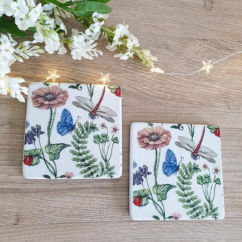 English Garden Inspired Ceramic Coaster