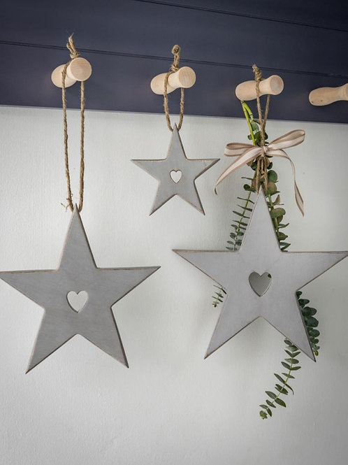 Grey Hanging Stars With Cut Out Heart Detail - Set Of 3