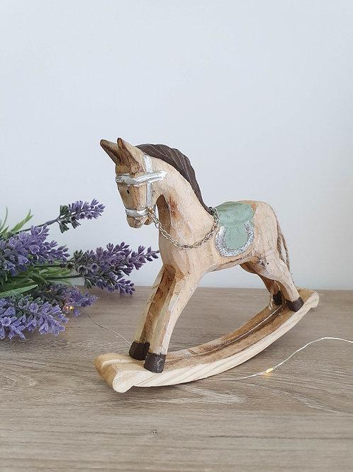 Miniature Sage Green Rustic Rocking Horse