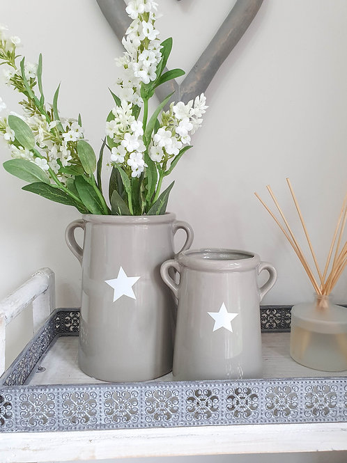 Grey & White Star Vase With Handles