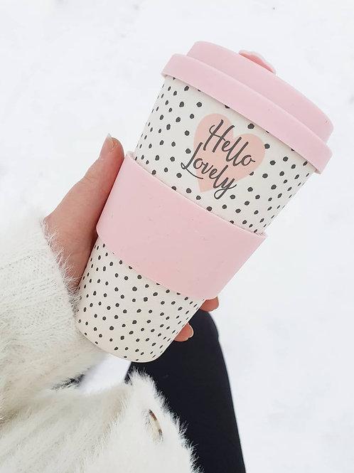 Pink Bamboo Hello Lovely Travel Mug