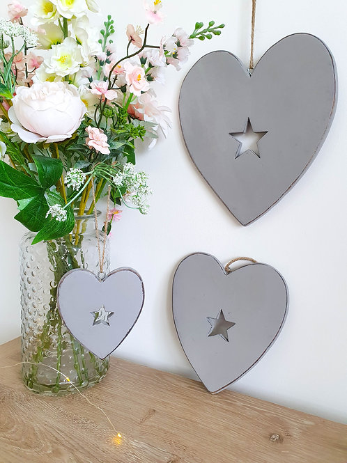 Grey Hanging Hearts With Cut Out Star Detail - Set Of 3