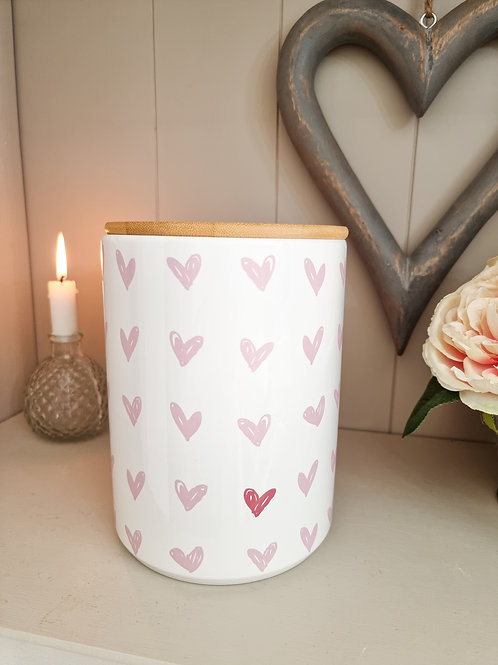 Pink Scribble Heart Ceramic Jar