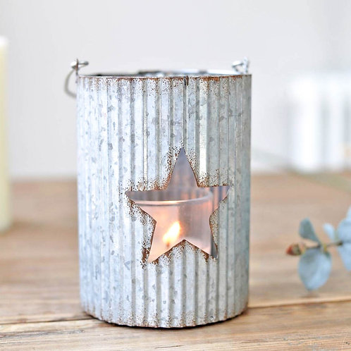 Ribbed Star Tin Candle Holder