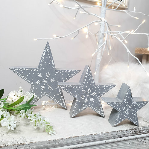 Grey Hand Painted Snowflake Wooden Stars