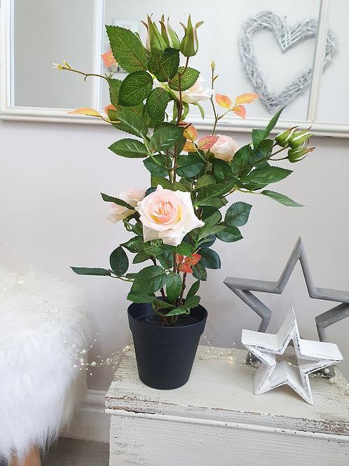 Artificial Pink Rose Bush In Planter