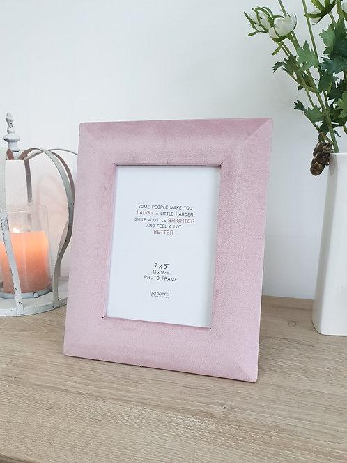 Blush Pink Velvet Standing Photo Frame