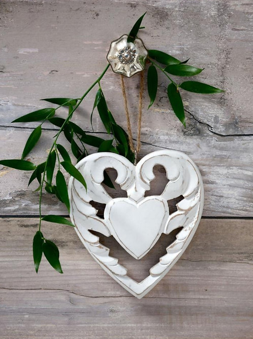 Filigree Hanging Winged Heart Decoration