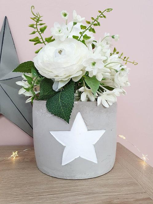 Grey & White Star Concrete Planter
