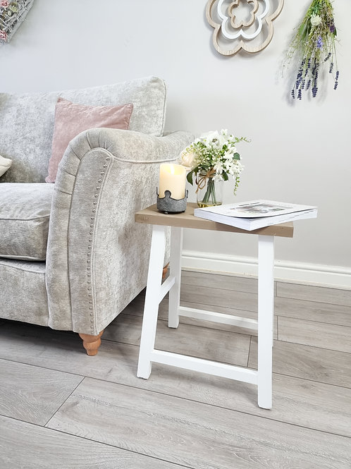 White Stool With Fir Wood Top - Large *Light Imperfection