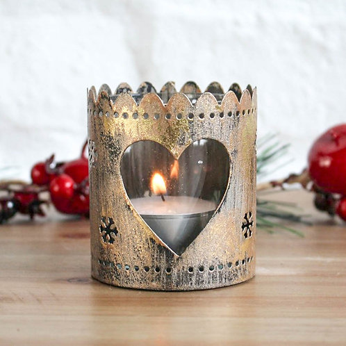Bronze Heart Scalloped Tin Candle Holder
