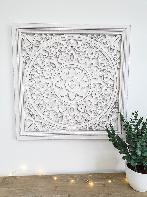 Distressed White Framed Wall Panel