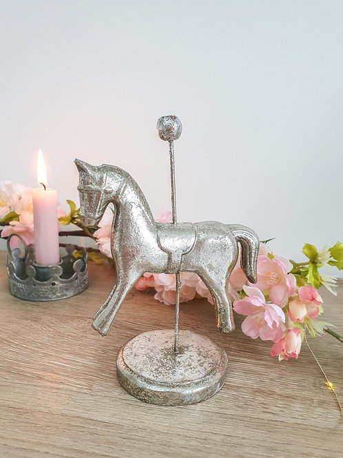 Antique Silver Merry Go Round Horse