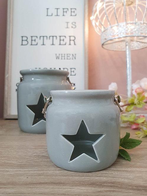 Grey Star Lantern Style Candle Holder