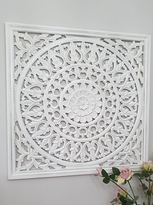 XL Square Hand Carved White Wall Panel