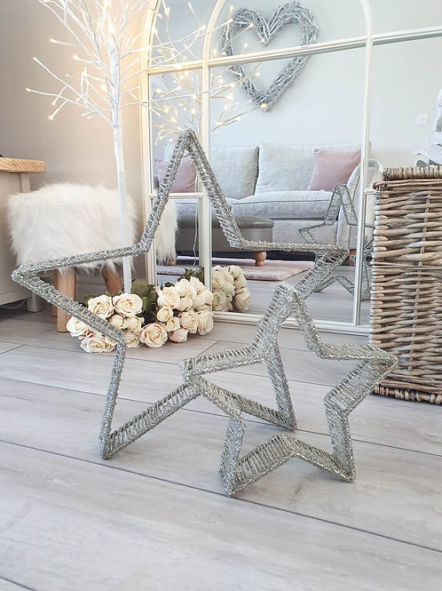 Silver Beaded 3D Standing/Hanging Star