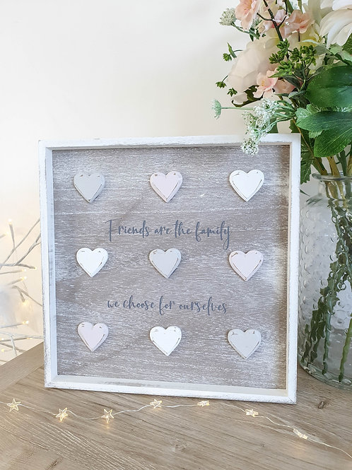 Friends Are The Family... Distressed Heart Plaque