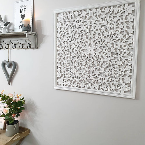 Distressed White Filigree Framed Wall Panel