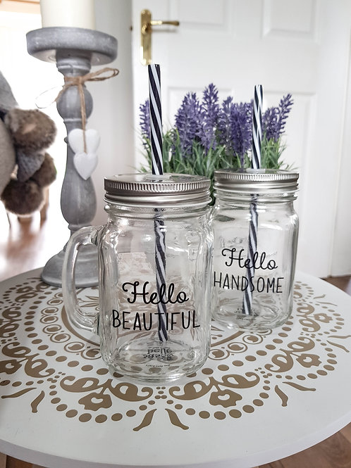 His & Hers Glass Drinking Jars