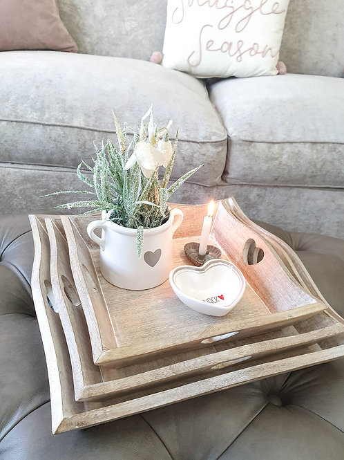 Natural Mango Wood Square Tray With Heart Detail
